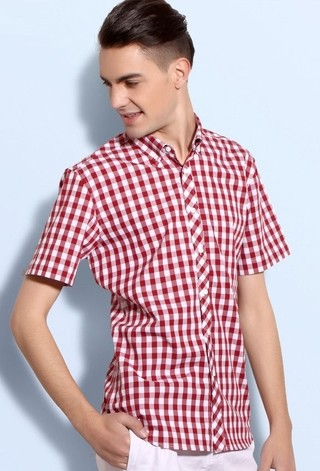 Shirt Short Sleeve Plus Size Casual Checked - Youth - Red
