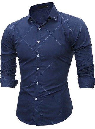 Solid Fashion Shirt - Relief Checkered Design - in Blue and Black