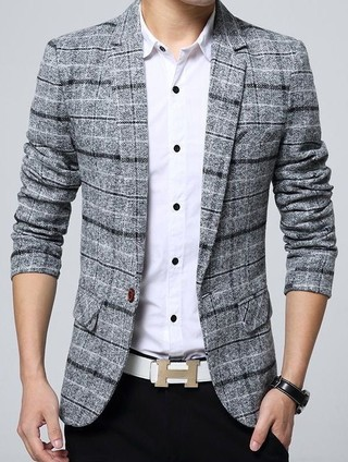 Fashion Blazer and One Button Buttons - Retro Style - in Gray, Dark Blue and Khaki