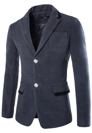 Two Modern Casual Blazer Buttons - Fall / Winter - in Gray, Blue and Black