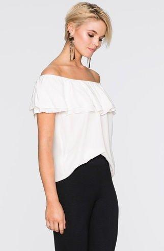 forma elegante zapatos de otoño precio de fábrica Blusa Primaveral Lisa - Hombros Descubiertos - en Blanco y Negro