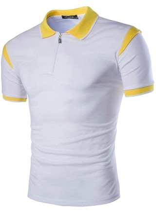 White Slim Fit Polo Shirt with Shoulder Detail - in Yellow and Black