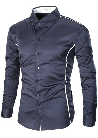 Social Shirt / Casual Slim Fit with Details - in 4 Colors - buy online