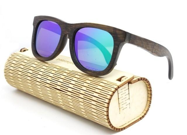 0ecc37b239 Gafas de Sol Vintage en Fibra de Bambú - Armazón Oscuro - Lentes en Verde,  Amarillo y Azul