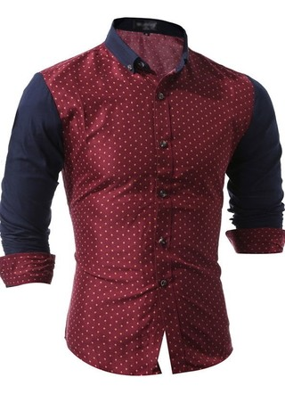 Modern Shirt with Print - Plain Sleeves - in Wine, Blue and White