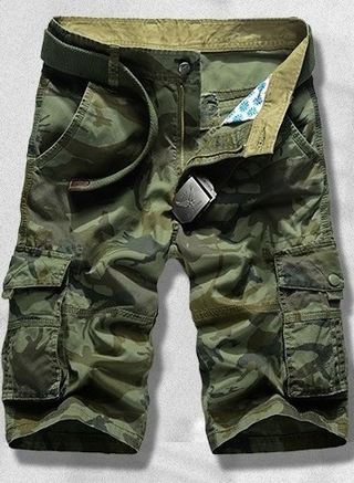 Military Shorts with Side Pockets - in Green and Khaki