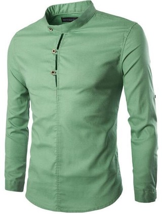 Casual Shirt with Mandarin Collar Fashion - Adjustable Sleeves - in Green, Blue and Black