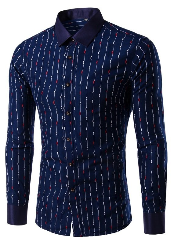 Camisa Casual Fashion Slim Fit Elegante - Diseño a Rayas - Azul