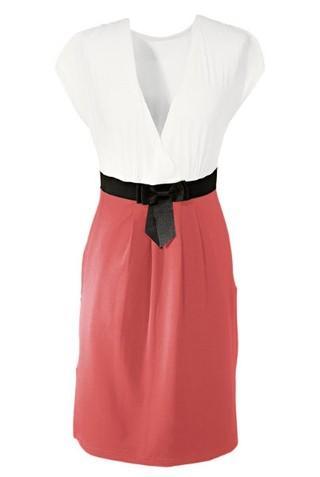 5761588b25 Vestido Casual en Dos Colores de Estilo Clásico - Detalle en la Cintura -  en Rosa