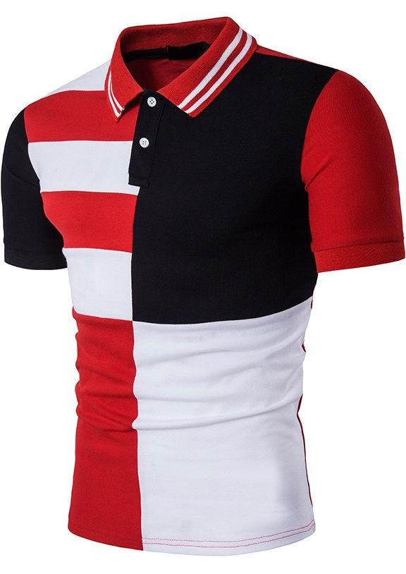 ... Camisa Polo Fashion Diseño Multicolor Geométrico - en Negro y Rojo -  comprar online d308a2af55a1c