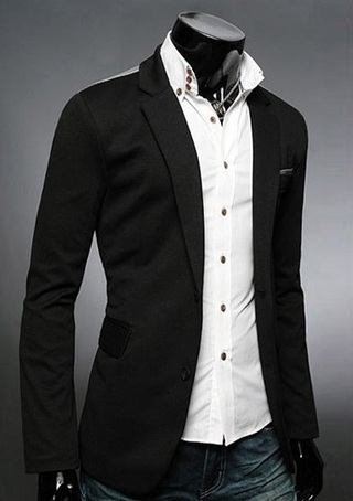 Casual Cotton Blazer with Side Details - Black, Gray, Blue and Wine