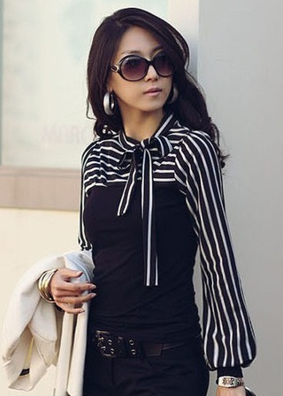 Office Social Blouse with Lace and Sleeves Striped - Black