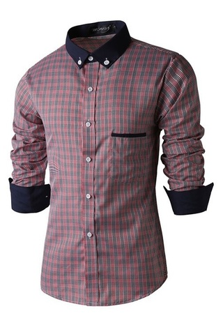 Casual Elegant Checkered Shirt - Contrast Neck and cuffs - in Red and Gray