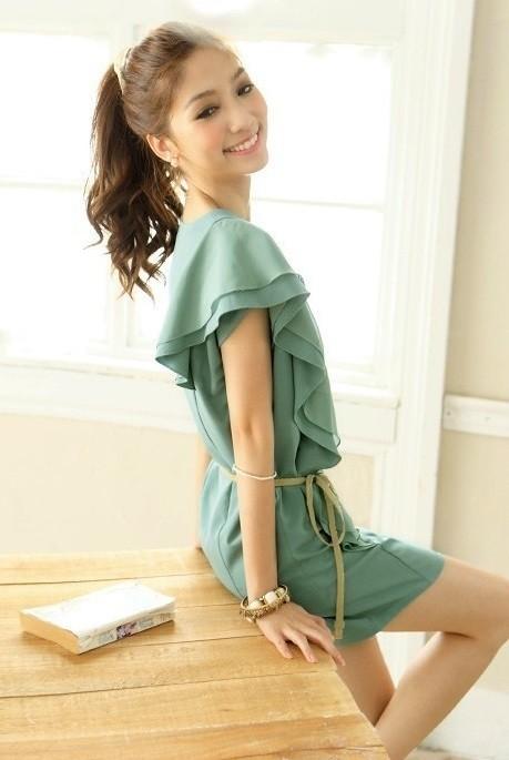c56959870 Vestido Casual Elegante Estilo Romance - Detalle Floral - Verde
