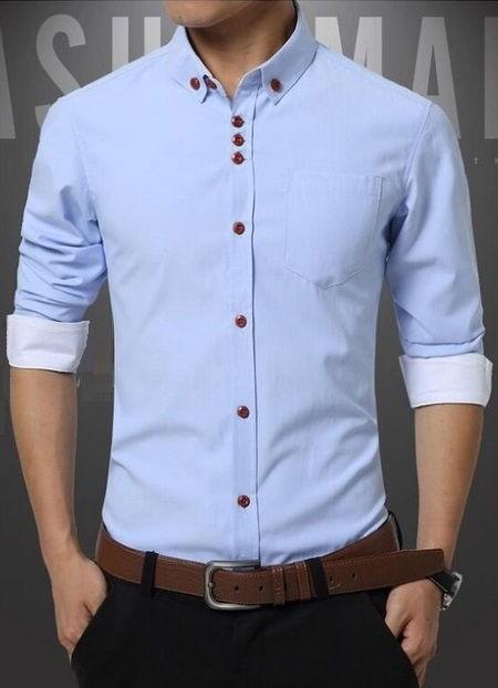b8113f3a3 ... Camisa Sofisticada Lisa en Algodón - Colores Modernos - en 7 Colores -  Camisas de Hombre ...