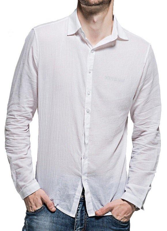 aa2c978e77 ... Camisa Casual Fresca para Verano en Lino - Colores Claros - en 7 Colores  - tienda ...