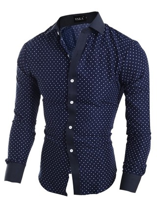 Shirt Fashion Casual Little Stars - in Blue and White