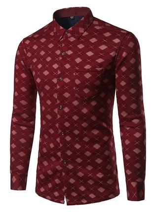 Flannel Checkered Shirt with Fashion Design - English Style - in Red and Blue Dark