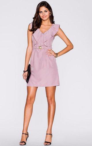 0acefbdad2 Vestido Elegante Sólido con Cuello en V - Estilo Romance - en Rosa y Khaki