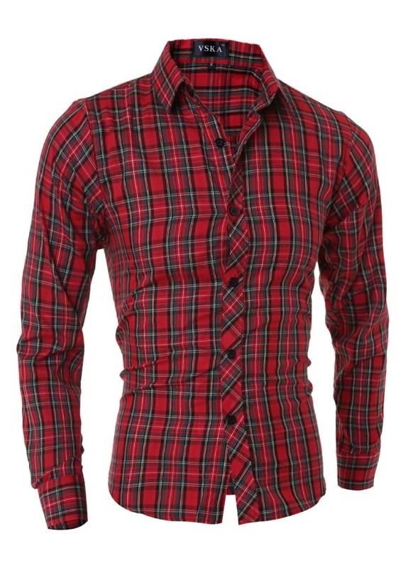 Camisa fashion a cuadros estilo cl sico roja for Cuadros estilo clasico