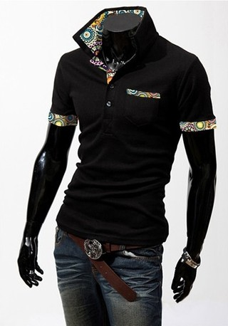 Youth Fashion Polo Shirt - Detail Colorful Floral - in Black, White and Wine