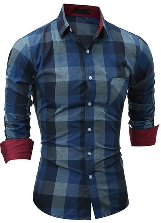 Slim Fit Casual Shirt - Woodcutter Style - in Blue and Brown