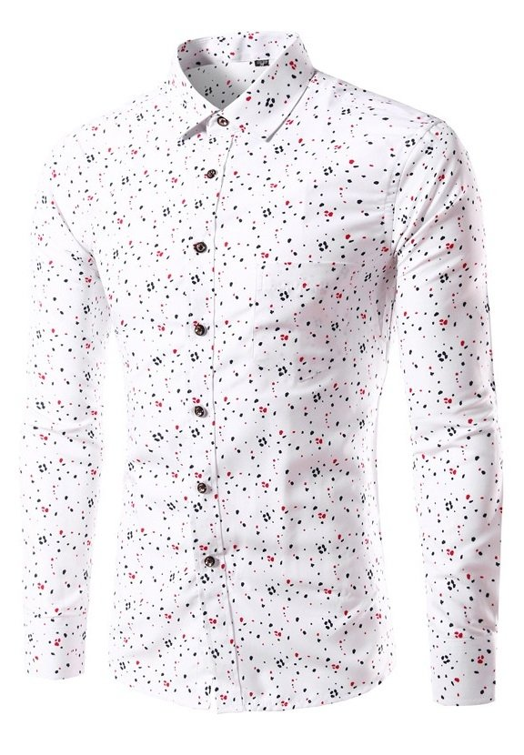 Camisa Casual Fashion Slim Fit - Puntos Multicolor - Blanca
