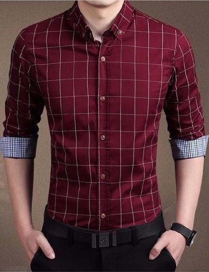 5503abf3ad ... Camisa de Vestir Moderna a Cuadros - Elegante - en 7 Colores en  internet ...