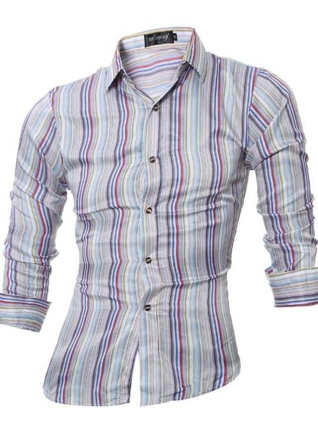 Camisa Fashion Casual - Rayas Coloridas