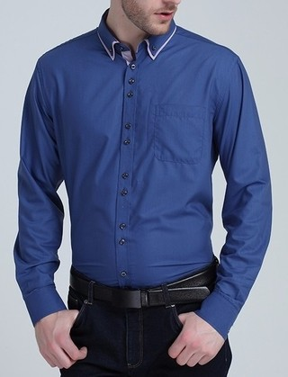 Shirt Social Fashion - Modern and Elegant Breasted - in Blue, White and Purple