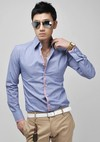 Casual Slim Fit Shirt - Gray, Pink, White and Blue - CamisasMasculinas.com - Lo Mejor de la Moda Masculina