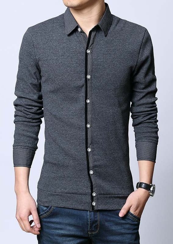 Sweater Casual Slim Fit - Detalle Frontal y Botones Modernos - Gris