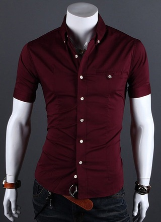 Casual Slim Fit Shirt Short Sleeve - Buttons with Details - in 5 Colors