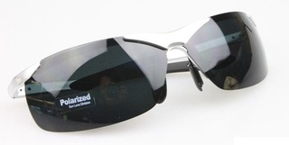 Male Polarized Sun Glasses - Silver Frame