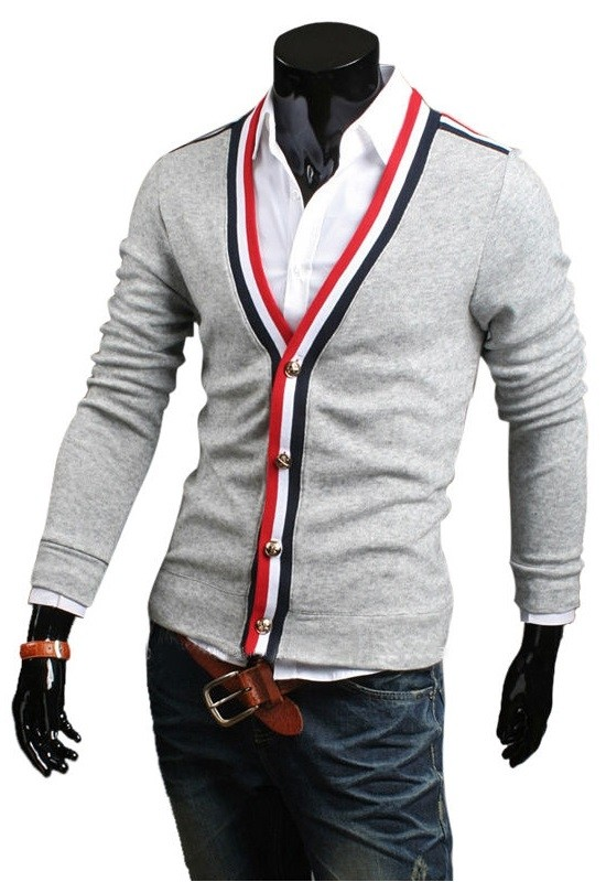 Sweater Moderno Slim Fit Casual - Detalle a Rayas - Gris