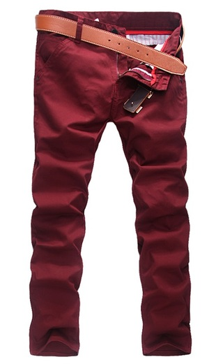 Modern Casual Pants Straight - in Cotton - Red