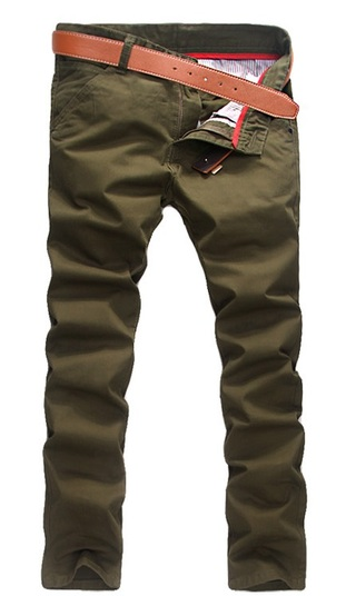 Modern Casual Pants Straight - in Cotton - Army Green