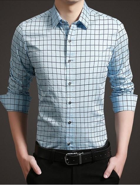 561598db3 Camisa de Vestir Moderna a Cuadros Plus Size - en 4 Colores - Camisas de  Hombre ...