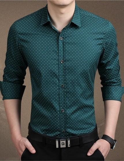 f82431363 ... Camisa de Vestir Moderna Plus Size Sólida - con Diseño - en 5 Colores -  Camisas ...