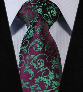 Corbata Fancy - Floral - Purpura / Verde