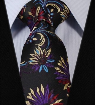 Corbata Fancy - Floral - Purpura / Amarilla