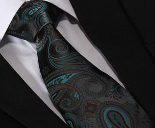 Corbata Fancy - Floral - Verde / Cafe