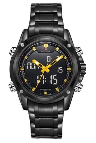 Reloj Sport Fashion NAVIFORCE 9050 Estilo Militar Negro - Analógico y Digital - en 4 Colores