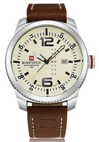 Classic Sport Watch NAVIFORCE 9063 Leather Bracelet - Silver Bezel - in White and Black
