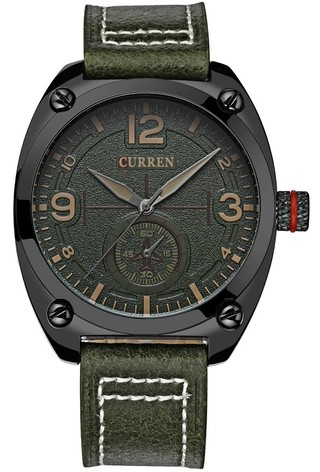 Fashion CURREN 8188 Watch - Retro Style Leather Bracelet - in Green, Black and Yellow