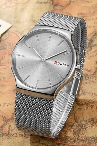 Luxury Fashion Watch CURREN 8256 Silver - Bracelet Type Mesh - in Gray and Blue