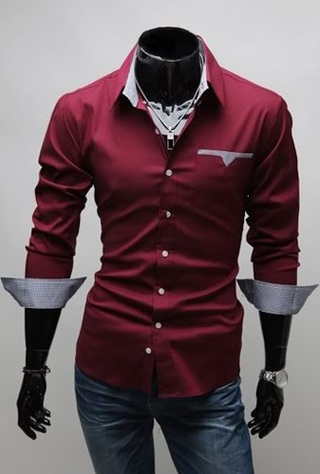 Casual Slim Fit Shirt with Pocket Details on Neck and Sleeves - Red, Black and White