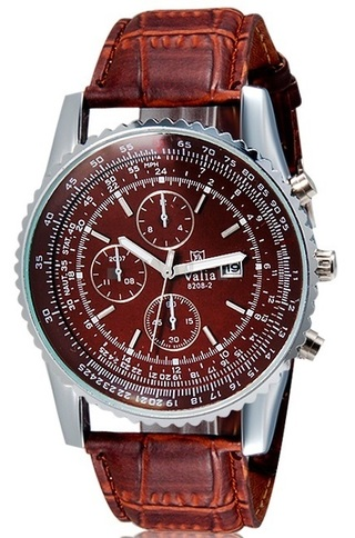 VaLia 8208 Men's Analog Watch with Calendar (Brown) M.