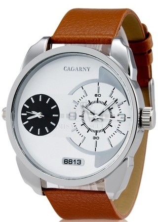 Reloj Masculino Fashion CAGARNY 6813 de Doble Dial - Cafe