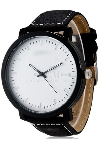 Reloj Unisex de Estilo Casual Fashion Analogo - Negro / Blanco